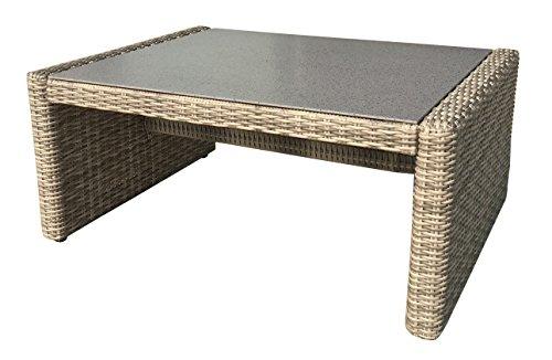 Gartentisch Polyrattan beige/braun Balkontisch Beistelltisch Couchtisch mit Spraystone-Platte