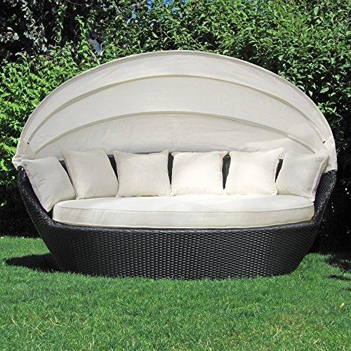 JOM Sonneninsel, Polyrattan Garten Lounge, Chill-Out Sofa mit Baldachin (195x115x140 cm), schwarz, Aluminiumgestänge, mit Sitzpolster und 6 Kissen beige
