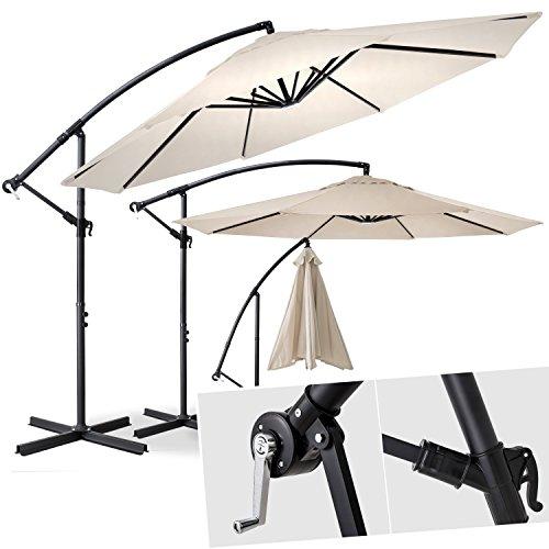 KESSER® Alu Ampelschirm Ø 300 cm ✔mit Kurbelvorrichtung ✔UV-Schutz ✔Aluminium ✔wasserabweisende Bespannung - Sonnenschirm Schirm Gartenschirm Marktschirm Beige Creme