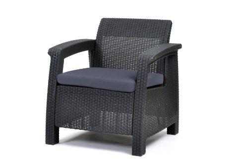 Keter Lounge Sessel, Rattan, Korfu Kunststoff Lounge Sessel in graphit/grau, 75x70x79 cm