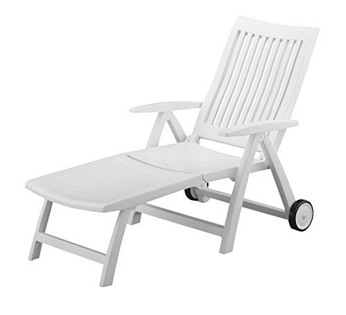 Kettler Roma Advantage Gartenliege weiß - klappbare Sonnenliege für Garten, Terrasse und Balkon - Rückenlehne mehrstufig verstellbar - wetterfeste Rollliege aus beständigem Kunststoff