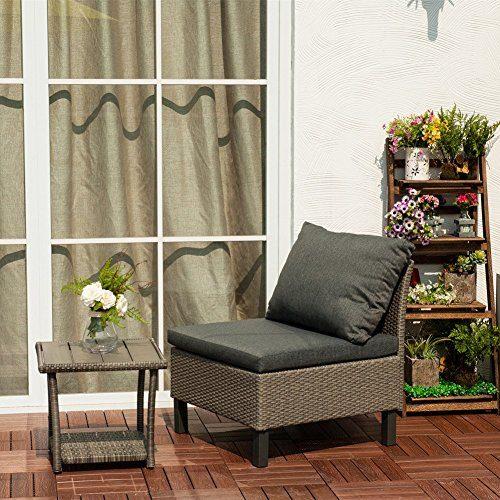 Kombinationen Rattan Loungesofa Set, Loungesessel aus Polyrattan Gartenmöbel inkl. Polster, Maße (BxTxH): ca. 59 x 68 x 63 cm, Grau