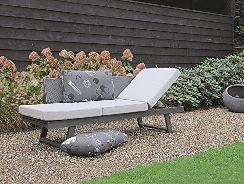 Loungebank Mojito Negra Funktionsliege Gartenliege Loungeliege Loungesessel Sonnenliege Gartenliege Gartenbank modern inkl. Kissen verstellbar anthrazit