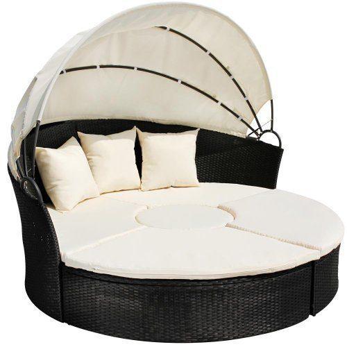 Miadomodo Hochwertige Polyrattan Lounge Sonneninsel Ø 180 cm (Farbwahl) mit Tisch Wohlfühllandschaft inkl. Kissen aufklappbarem Sonnendach (Schwarz)