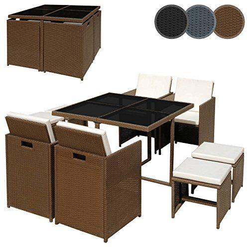 Miadomodo Polyrattan Sitzgruppe Sitzgarnitur Gartenmöbel 9-teilig in der Farbe nach Ihrer Wahl (Braun - Sitzkissen: Cremeweiß)