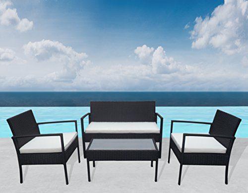 "Outdoor Sitzgruppe ""Greece"" Lounge Schwarz Gartenset Sofa Garnitur Polyrattan Gartenmöbel Poly Rattan 7 tlg."