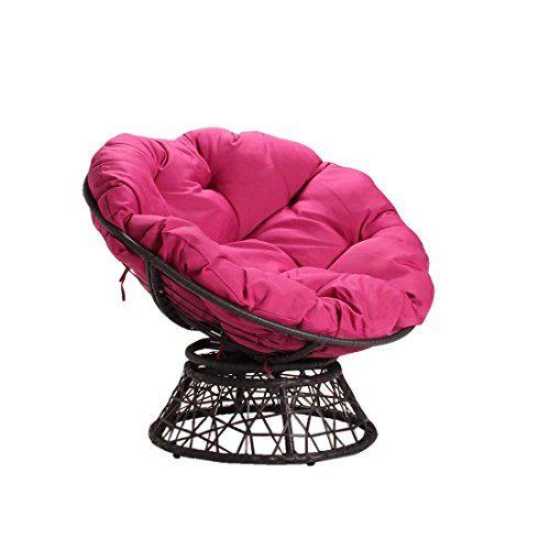 Papasansessel OUTLIV. Chile Korbsessel rund Stahl/Geflecht Anthrazit/Pink Sitzmuschel
