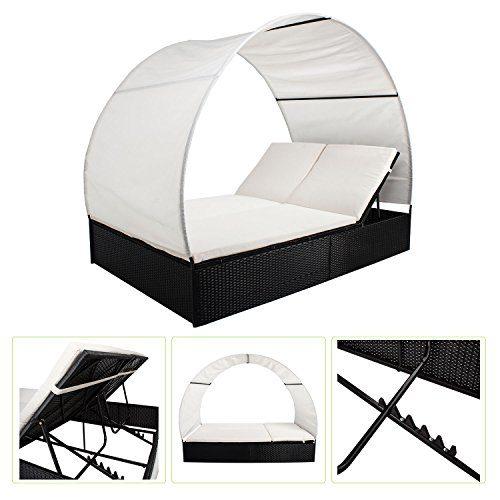 Polyrattan Gartenmöbel Sonnenliege Lounge Ibiza XL mit Dach für 2 Personen