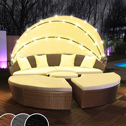 Polyrattan Sonneninsel mit LED Beleuchtung + Solarmodul inklusive Abdeckcover Rattan Lounge Sunbed Liege Insel mit Regencover Sonnenliege Gartenliege (180cm, Braun)