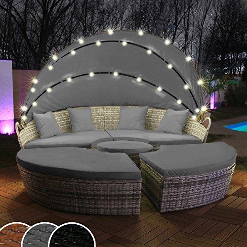 Polyrattan Sonneninsel mit LED Beleuchtung + Solarmodul inklusive Abdeckcover Rattan Lounge Sunbed Liege Insel mit Regencover Sonnenliege Gartenliege (210cm, Grau)