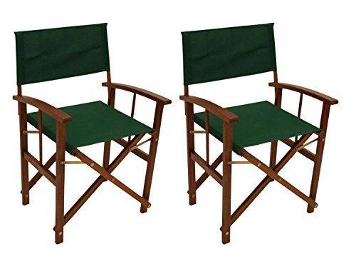 Regiestuhl, Gartenstuhl, Klappstuhl, Stuhl, Balkonstuhl, Terrassenstuhl, Eukalyptusholz, Holz, dunkelgrün, grün, 2er-Set