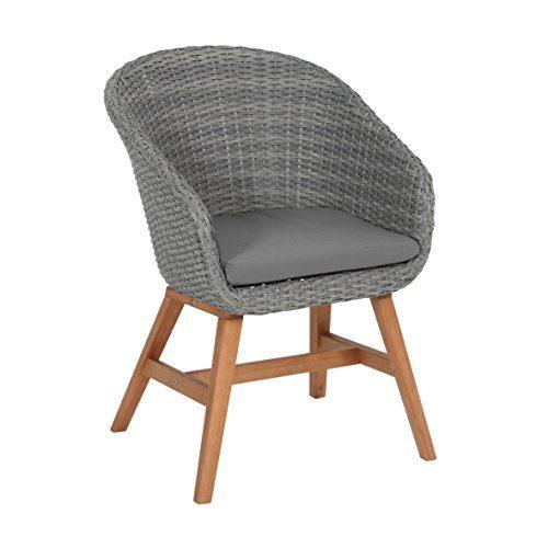 Ribelli® Rattansessel 'Madeba' für Balkon, Garten & Terrasse - Rattanstuhl grau - Outdoor Stuhl aus Rattan mit Auflage Polster - Lounge Sessel mit Holzbeinen