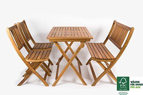 SAM® 4 tlg. Akazien-Holz Gartengruppe Blossom, Sitzgruppe bestehend aus 1 x Tisch, 1 x Sitzbank & 2 x Gartenstühle, zusammenklappbares Gartenmöbel, FSC® 100% zertifiziert