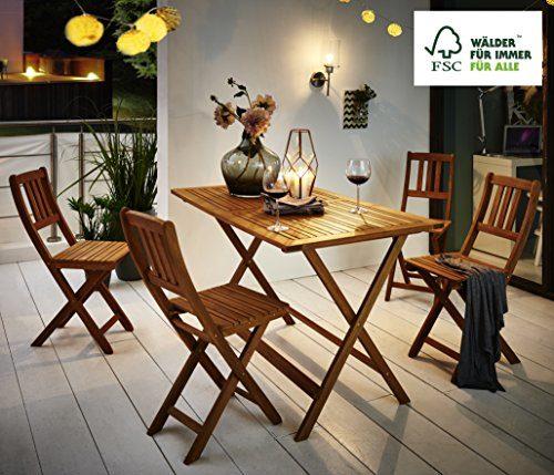 SAM 5-tlg. Gartengruppe Costas, Tischgruppe aus Akazienholz, 1 Tisch + 4 Stühle, FSC zertifiziert