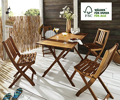 SAM Gartengruppe 5tlg. Holstebro, 1 x Tisch + 4 x Stuhl, massives Akazienholz, klappbar, FSC® 100% zertifiziert