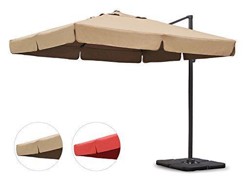 Sekey® Sonnenschirm 300 x 300 cm Aluminium-Sonnenschirm Marktschirm Gartenschirm Terrassenschirm Ampelschirm Kurbelschirm Beige/Taupe Quadratisch Sonnenschutz UV50+ 23kg