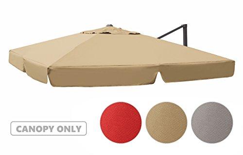 Sekey Sonnenschirm / Marktschirm / Gartenschirm / Terrassenschirm / Ampelschirm / Kurbelschirm Bespannung ink. Air Vent für interpara Sonnenschirm (3 x 3m),beige,Quadratisch,UV50+