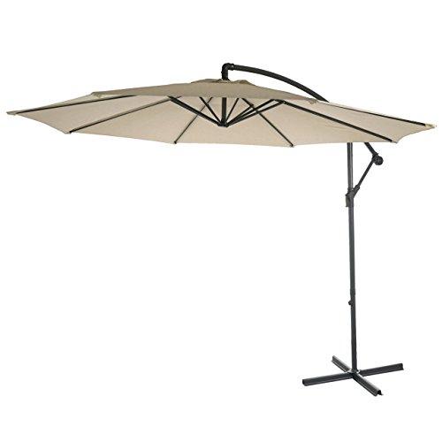 Semi-Profi Ampelschirm Acerra, Sonnenschutz, 3m neigbar ~ creme ohne Ständer