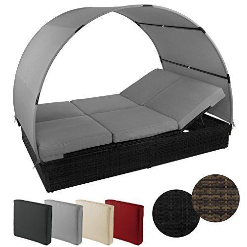 Sonnenliege MOSAMBIK Polyrattan Doppelbett 200 x 140 cm mit Sonnendach Sitzpolster mit abnehmbaren Bezügen Rücken- sowie Fußelemente 5-fach höhenverstellbar, Farbe:Titan-Schwarz / Kieselstrand