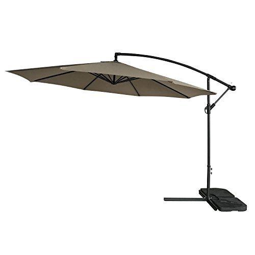 Sonnenschirm 3m mit Eisen Gestell 160g Polyester Wasserdicht Groß Ampelschirm Marktschirm Gartenschirm Höhe 250-320 cm (Einstellbar) Weiß Khaki