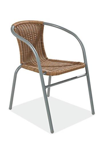 Stapelstuhl Stapelsessel Terrassenstuhl USIM | Beige | Stahl Kunststoff | Stapelbar