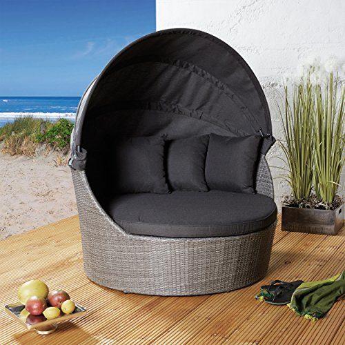 Strandkorb aus Poly Rattan grau meliert für Ihre Terrasse, Garten oder Balkon mit praktischem Faltdach in anthrazit