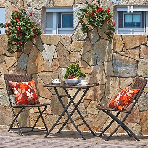 Terrasse Balkonmöbel Faltbare Bistro-Möbel-sets, Holz Harz und Rattan Gartentisch-Set, 3-teilig Klapptisch und Stühle