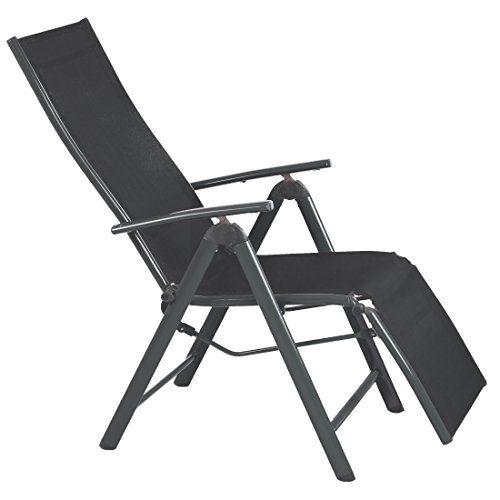 Ultranatura Aluminium Relax-Sessel mit Armlehne, Korfu-Serie, anthrazit, 73 x 60 x 112 cm