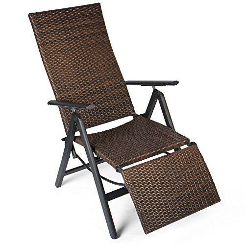 Vanage Polyrattan Gartenstuhl mit Fußablage in braun -  Alu Klappstuhl - Hochlehner - Klappsessel - Gartenmöbel - Relax-Sessel für Garten, Terrasse und Balkon geeignet