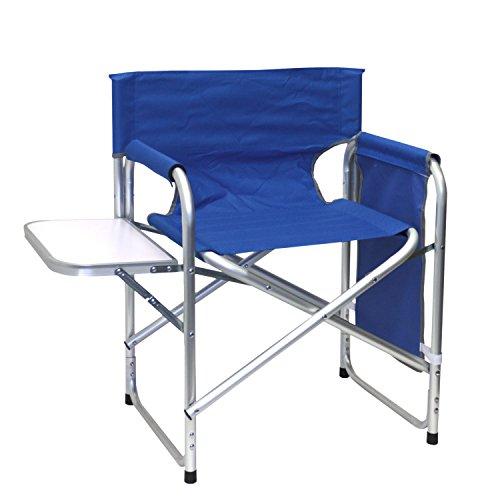 Wohaga® Aluminium Klappstuhl mit klappbaren Tisch und Organizer, strapazierfähige Polyesterbespannung in Blau - Alu Gartenstuhl Campigmöbel Aluminium Anglerstuhl