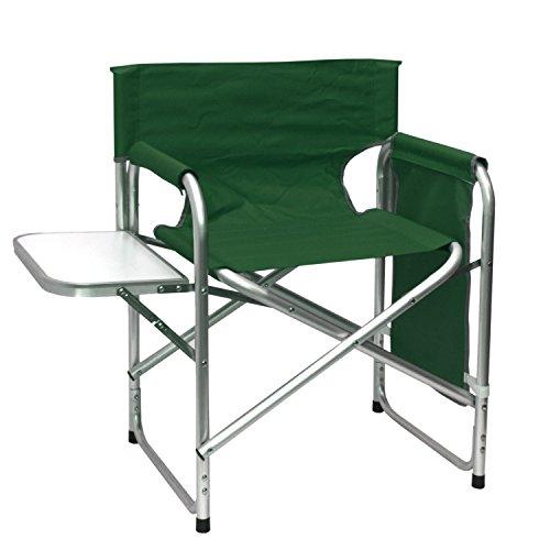 Wohaga® Aluminium Klappstuhl mit klappbaren Tisch und Organizer, strapazierfähige Polyesterbespannung in Grün - Alu Gartenstuhl Campigmöbel Aluminium Anglerstuhl