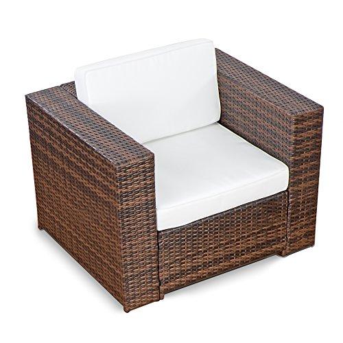 XINRO (1er) Premium Lounge Sessel - Lounge Sofa Gartenmöbel günstig Loungesofa Polyrattan XXL Rattan Sessel - In/Outdoor - handgeflochten - mit Kissen - braun