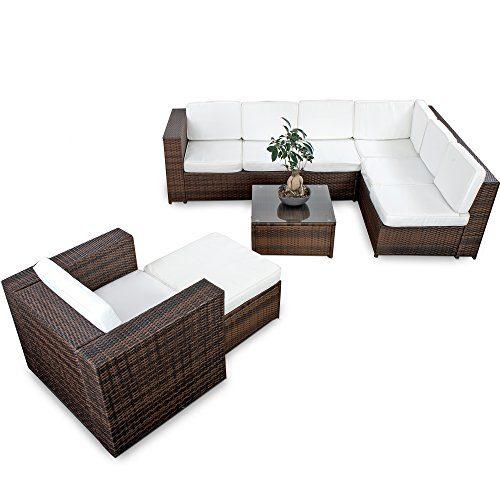 XINRO 22tlg. Polyrattan Gartenmöbel Lounge Set (Modell 2017) Polyrattan Sitzgruppe Loungemöbel + 1x Lounge Sessel - Rattan Garnitur Sitzgruppe - In/Outdoor - handgeflochten - braun