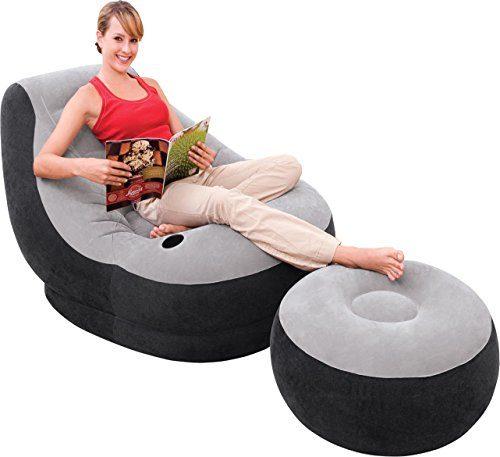 aufblasbarer Loungesessel mit Fußhocker für Camping und Chillout