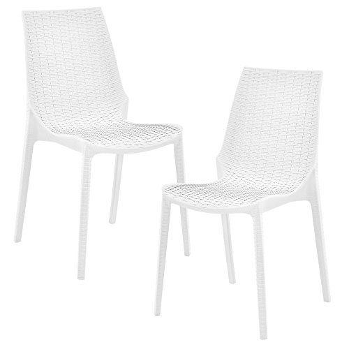 [casa.pro]® 2 x Stuhl in Rattan-Optik (Kunststoff) Gartenstuhl wetterfest (weiß)