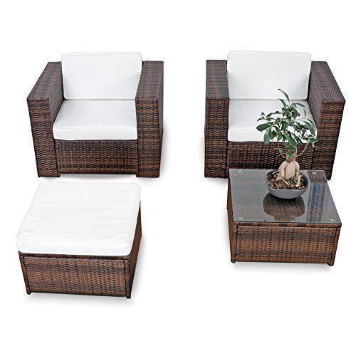 erweiterbares 10tlg. Balkon Gartenmöbel Set Polyrattan - braun-mix - Garnitur Gartenmöbel Sitzgruppe Loungemöbel Set - inkl. Lounge Sessel + Hocker + Tisch + Kissen