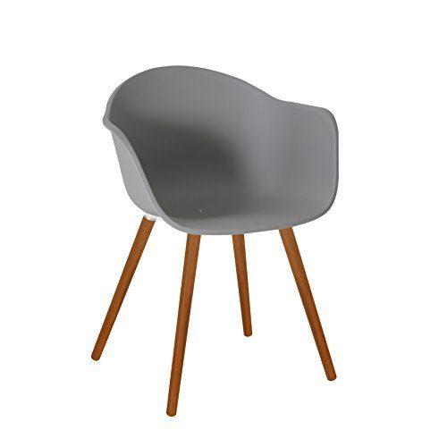 greemotion 129500 Gartenstuhl DERBY aus Kunststoff Stuhl mit Holzbeinen für Garten, Balkon & Terrasse-Gartensessel mit Armlehne-Lounge Sessel modern, Grau, 5,2 x 6 x 8 cm