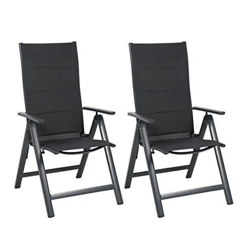 greemotion Alu-Gartensessel klappbar im 2er-Set - Klappsessel in Anthrazit-Grau - Design-Gartenstühle mit Rückenlehne 7-fach verstellbar - Klappstuhl Textilene gepolstert - Hochlehner aus Aluminium