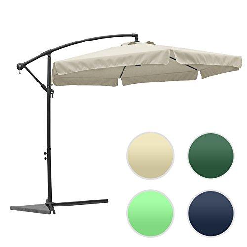 groß metall Sonnenschirm mit Kurbel ca. Ø 3m (300cm) - XXL! UV SCHUTZ! FARBE WÄHLBAR / rund Ampelschrim (Beige), Sonnenschutz und Wasserdicht Gartenschirm Kurbelschirm für Balkon, Camping, Tarasse