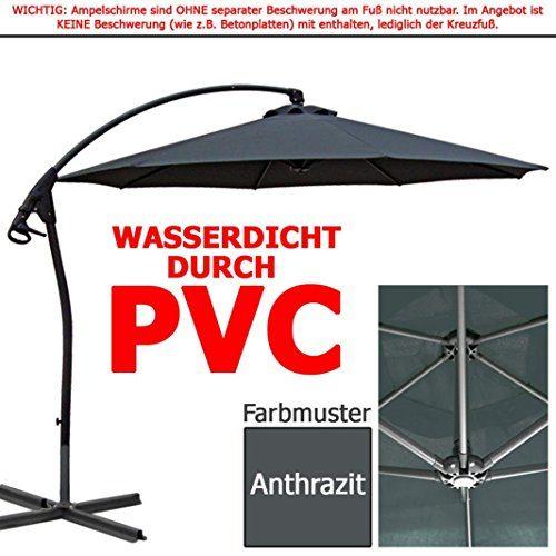 habeig® LUXUS Ampelschirm 3m Anthrazit WASSERDICHT durch PVC Schirm 300cm Sonnenschirm