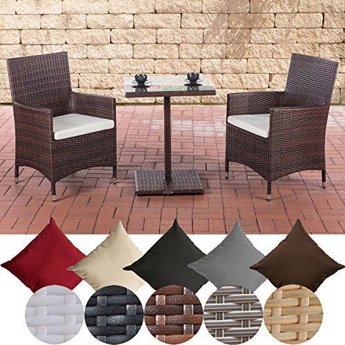 CLP Garten-Sitzgruppe PALERMO aus Polyrattan | Robuste Gartengarnitur mit Aluminiumgestell | Garten-Set bestehend aus 2 Stühlen und einem Tisch | In verschiedenen Farben erhältlich Braun Meliert, Bezugsfarbe: Cremeweiß