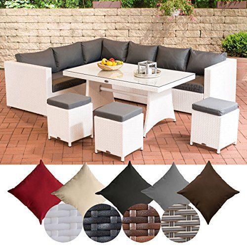 CLP Gartengarnitur SORANO | Sitzgruppe mit 8 Sitzplätzen | Gartenmöbel-Set aus Polyrattan | In verschiedenen Farben erhältlich Bezugfarbe: Eisengrau, Rattanfarbe: Weiß