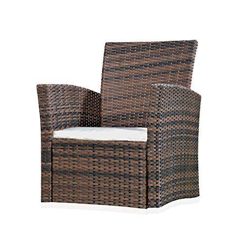 Melko® Polyrattan Gartensessel, wetterfest, inkl. Sitzkissen verschiedene Farben (Braun)
