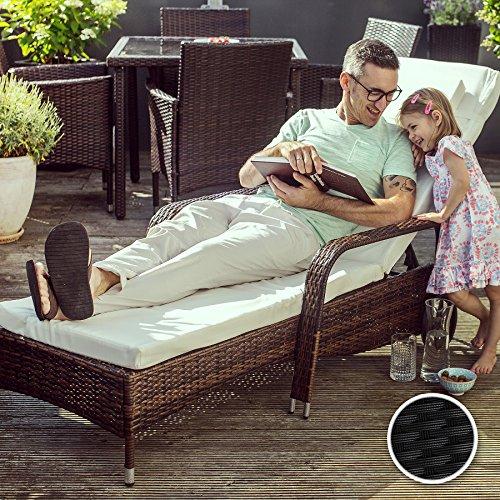 TecTake Hochwertige Aluminium Polyrattan Sonnenliege Gartenliege inkl. Auflage und Kopfkissen - diverse Farben - (Schwarz | Nr. 402119)