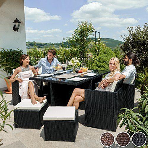 TecTake Poly Rattan Aluminium Gartengarnitur Sitzgruppe 6+1+4, Edelstahlschrauben - diverse Farben - (Schwarz-Braun | Nr. 401455)