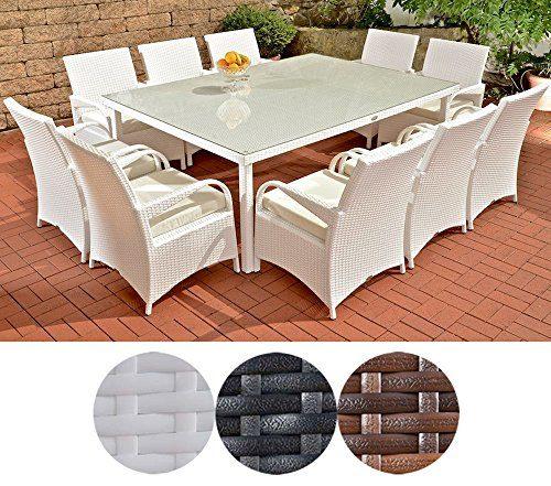 CLP Polyrattan XXL Sitzgruppe PIZZO | Gartengarnitur bestehend aus 10 Stühlen und einem Tisch | In verschiedenen Farben erhältlich Rattanfarbe: Weiß, Bezugsfarbe: Creme