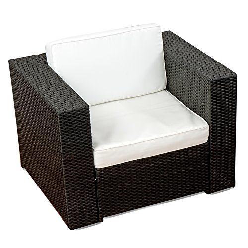 XINRO (1er) Premium Lounge Sessel - Lounge Sofa Gartenmöbel günstig Loungesofa Polyrattan XXL Rattan Sessel - In/Outdoor - handgeflochten - mit Kissen - schwarz