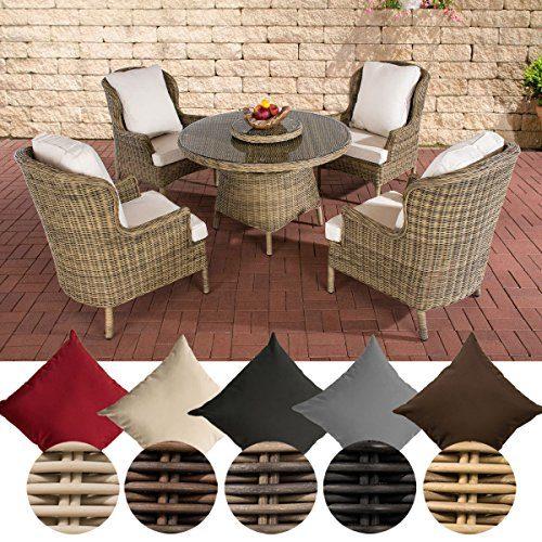 CLP Polyrattan-Sitzgruppe JARDIN | Gartengarnitur bestehend aus vier Sesseln und einem Tisch | In verschiedenen Farben erhältlich Bezugfarbe: Cremeweiß, Rattan Farbe natura