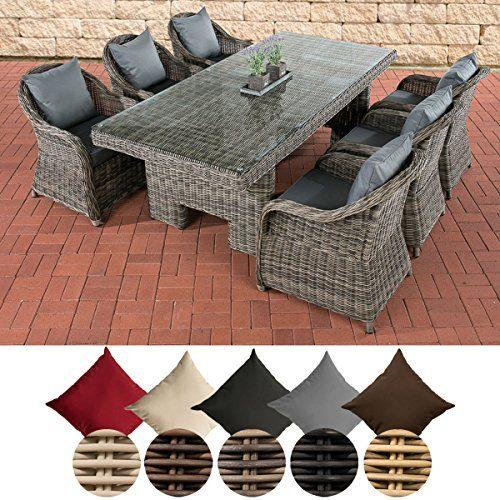 CLP Polyrattan-Sitzgruppe CANDELA inklusive Polsterauflagen | Garten-Set bestehend aus einem Esstisch mit einer pflegeleichten Tischplatte aus Glas und sechs Sesseln | In verschiedenen Farben erhältlich Bezugfarbe: Eisengrau, Rattan Farbe grau-meliert