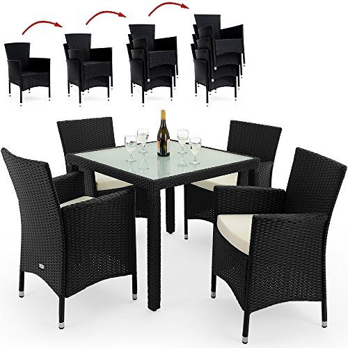 Deuba® Poly Rattan Sitzgruppe 4+1 Schwarz | 4 stapelbare Stühle | 7cm dicke Sitzauflagen creme | wetterfestes Polyrattan [ Modell- & Farbauswahl 4+1 / 6+1 / 8+1 ] - Gartenmöbel Gartenset Lounge Sitzgarnitur Essgruppe Set